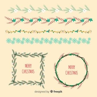 Coronas y bordes florales navidad