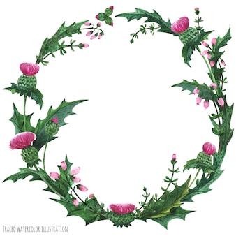 Coronas de cardo y brezo para decoración.