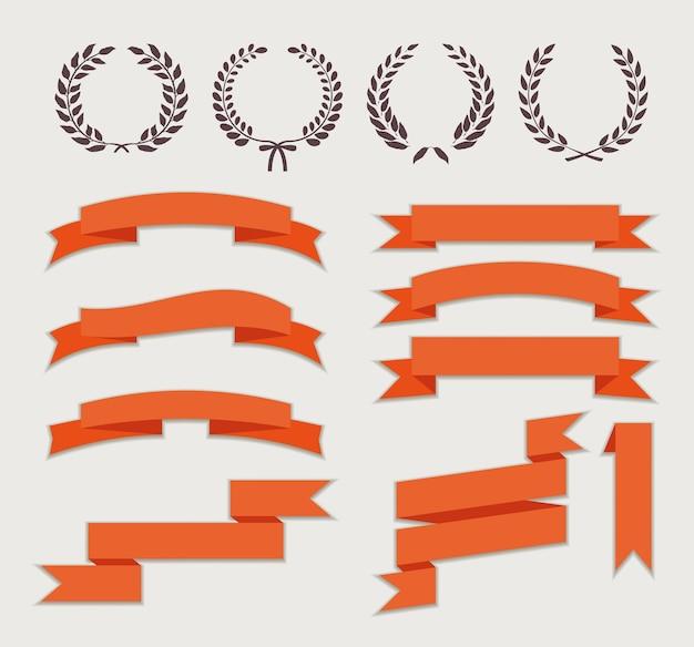 Coronas y cintas para banner en estilo plano