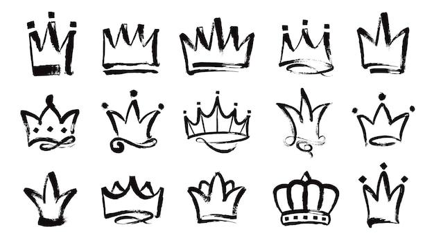 Coronas dibujadas a mano corona real pintada con pincel grunge bosquejo de la corona del rey