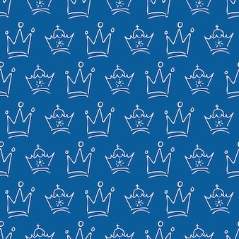 Coronas dibujadas a mano. patrón sin fisuras de coronas de reina o rey de boceto de graffiti simple. corona imperial real y símbolos del monarca. ilustración vectorial.