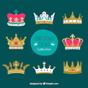 Coronas dibujadas a mano con variedad de diseños
