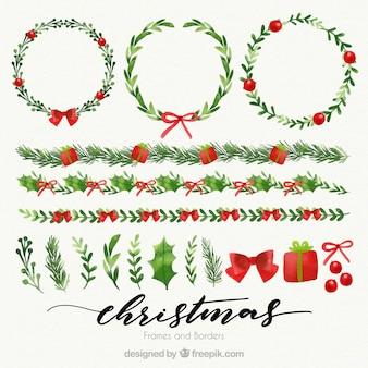 Coronas florales y bordes navideños de acuarela