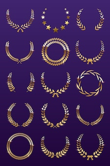 Coronas de laurel dorado sobre fondo violeta, conjunto de corona de premio foliado para campeonato o festival de cine.