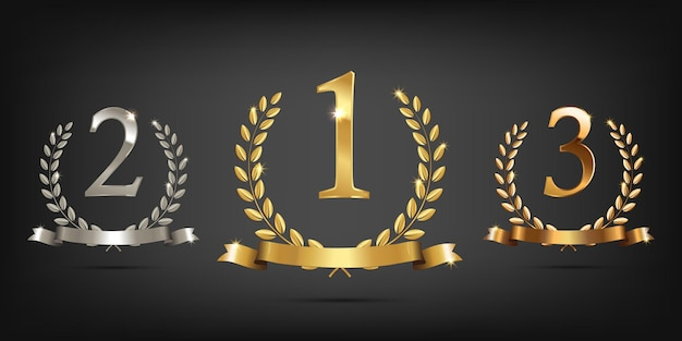 Coronas de laurel de oro, plata y bronce con cintas y signos de primer, segundo y tercer lugar.