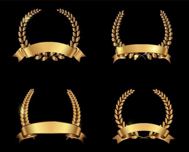 Coronas de laurel de premio de oro