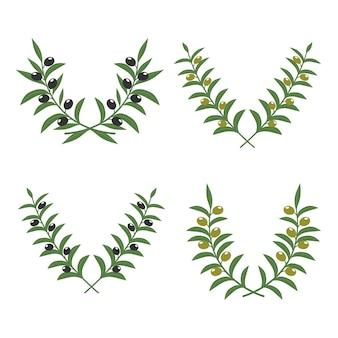 Coronas de rama de olivo aisladas en blanco