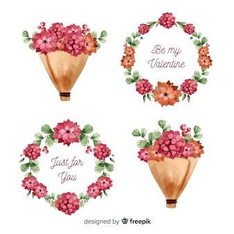 Coronas y ramos de flores de san valentín en acuarela