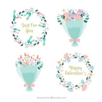 Coronas y ramos de flores de san valentín dibujadas a mano