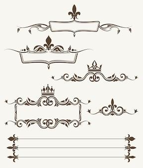 Coronas reales y marcos ornamentados de flor de lis