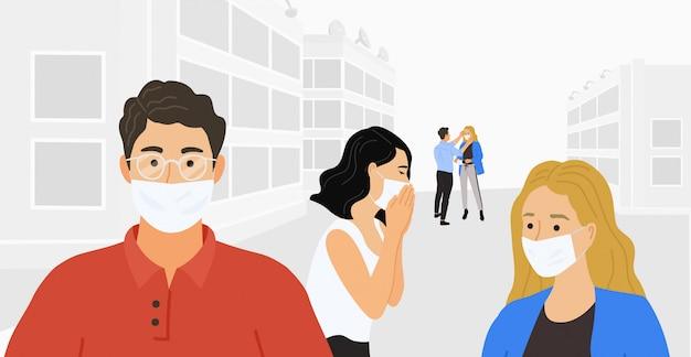 Coronavirus 2019-nc0v, covid-19, novela wuhan. personas con máscaras médicas protectoras. ilustración plana