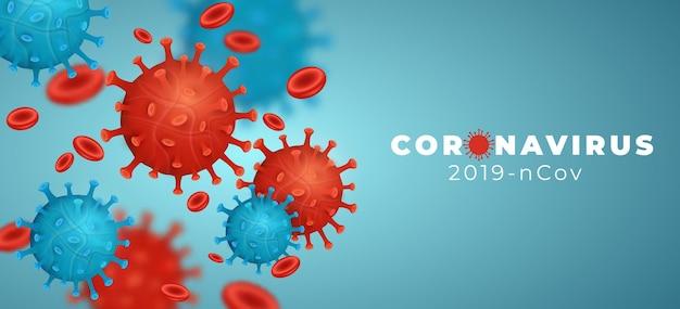 Coronavirus 2019-ncov con células de la enfermedad y células sanguíneas. organismo patógeno. enfermedad infecciosa epidémica covid-19. infección celular. modelo de virus verde y rojo 3d. eps 10