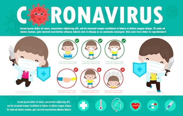 Coronavirus 2019-ncov infografía. síntomas coronavirus y consejos de prevención. propagación del brote del virus covid-19, salud y medicina. protección contra el virus. el doctor sugiere y la ilustración de protección.