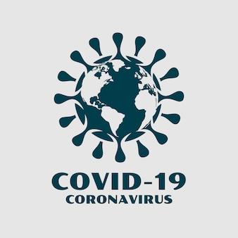 Coronavirus covid-19 con diseño de fondo extendido de mapamundi