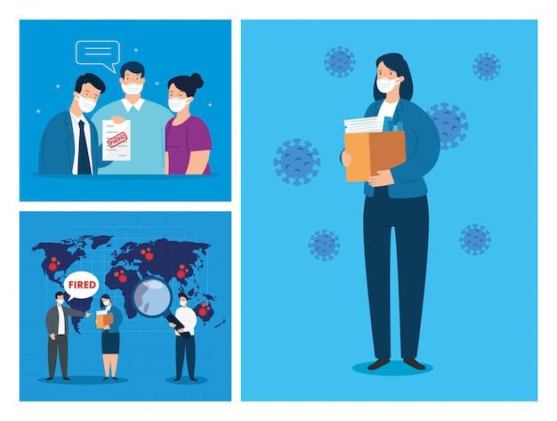 Coronavirus, desempleo, desempleado de covid 19, compañía cerrada y cierre de negocios, escenas de desempleo de personas usando diseño de ilustración de máscara facial