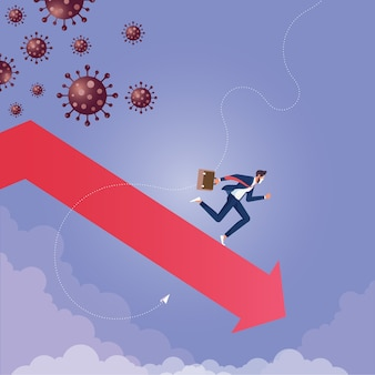 Coronavirus con economía global para las empresas recesión económica provocada por una pandemia de coronavirus