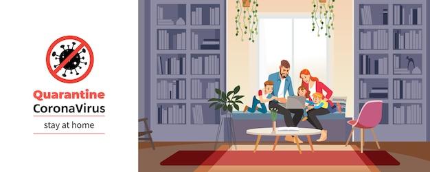Coronavirus. familia en casa con tutor o padre recibiendo educación en casa durante la auto cuarentena del coronavirus. conversación familiar a través de videoconferencia. concepto de escolarización en el hogar. ilustración