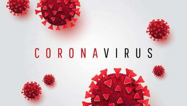 Coronavirus. fondo horizontal con enfermedades celulares