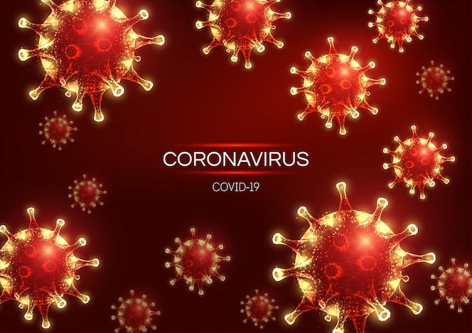 Coronavirus futurista 2019-ncov, plantilla de banner web covid-19 sobre fondo rojo.