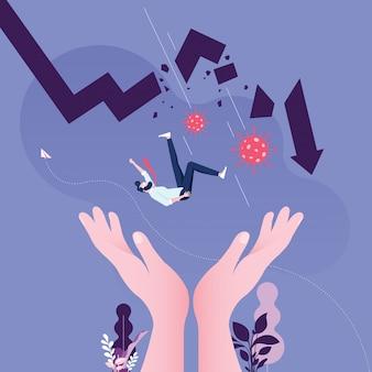 Coronavirus llega a la baja del mercado de valores: concepto empresarial