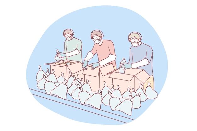 Coronavirus, medicina, selección, apoyo, concepto de voluntariado. equipo de hombres jóvenes voluntarios con mascarillas médicas que empacan juntos los suministros de entrega. servicio médico sanitario y ayuda humanitaria.