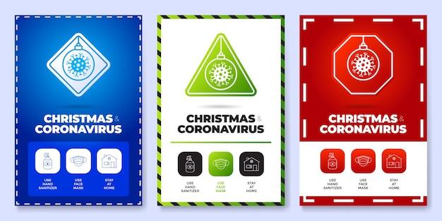 Coronavirus navideño todo en un conjunto de carteles de iconos.