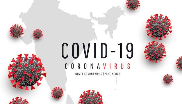 Coronavirus o covid-19. célula de coronavirus rojo en el fondo del mapa mundial de la india. epidemia, pandemia, medicina, vacuna de virus. propagación e infección global del virus