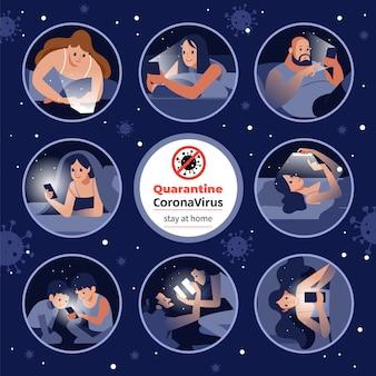 Coronavirus o cuarentena de covid-19. diferentes personas que sonríen mientras realizan videoconferencias en casa durante la autocuidado de coronavirus conversación familiar a través de una conferencia telefónica. dibujos animados