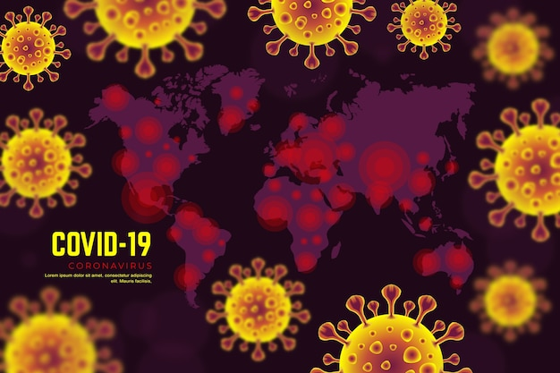 Coronavirus realista con diseño de mapa