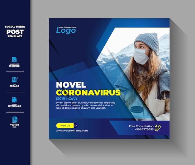 Coronavirus social media post square banner covid 19 corona virus