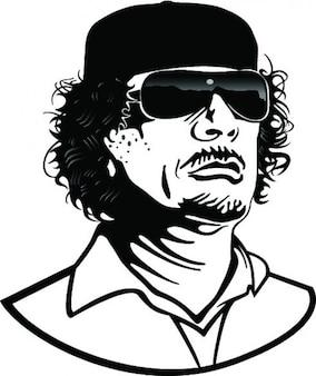 El coronel gadafi vector retrato de la historieta