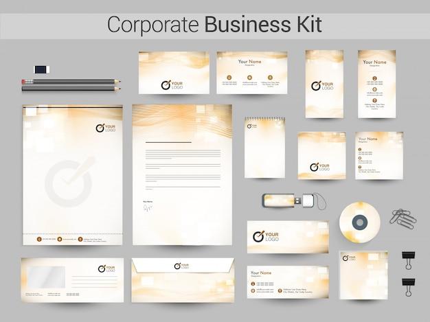 Corporate business kit con ondas abstractas.