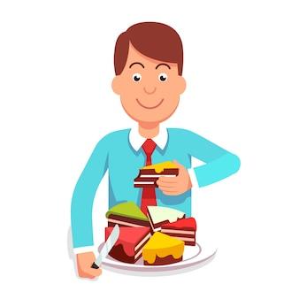 Corporativo, hombre de negocios, comer, mercado, partes, pastel