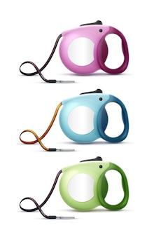 Correas retráctiles automáticas de colores vectoriales para mascotas aisladas sobre fondo blanco