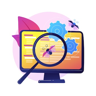 Corrección de errores y pruebas de software. herramienta de búsqueda de virus informáticos. devops, optimización web, aplicación antivirus. elemento de diseño de lupa, rueda dentada y monitor.