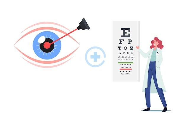 Corrección láser de enfermedades de miopía o miopía, concepto de cirugía ocular. personaje del médico oculista de pie frente a la tabla o mesa de snellen enorme para prueba de visión, enfermedad. ilustración vectorial de dibujos animados