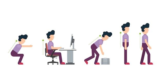 Correcto sentado en el escritorio y postura