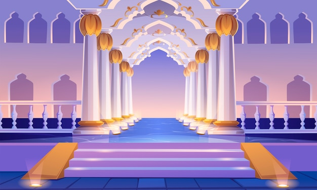 Corredor del castillo con escalera, columnas y arcos.