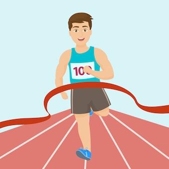 El corredor cruza la línea de meta