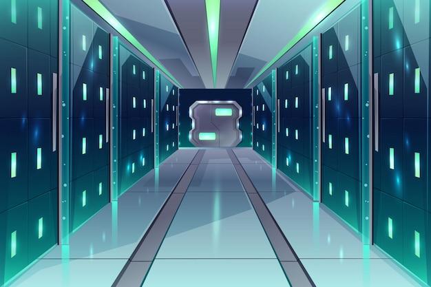 Corredor de dibujos animados vector en una nave espacial, centro de datos con bastidores de servidor