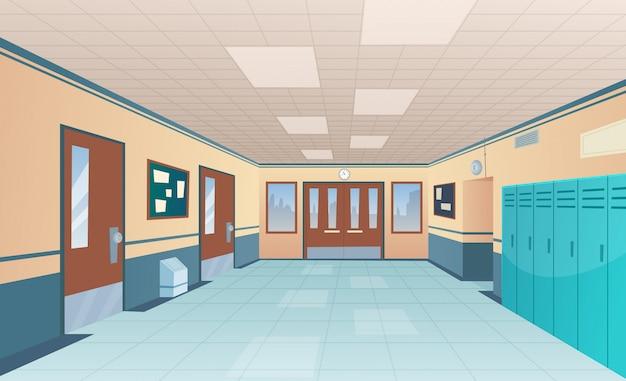Corredor de la escuela. brillante interior de la universidad del gran pasillo con puertas de aula con escritorios sin niños imagen de dibujos animados