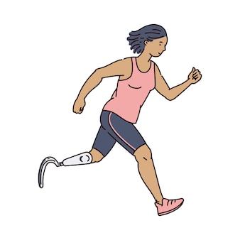 Corredor femenino discapacitado en ropa atlética corriendo hacia adelante - mujer de dibujos animados con prótesis de pierna haciendo ejercicio deportivo. ilustración.