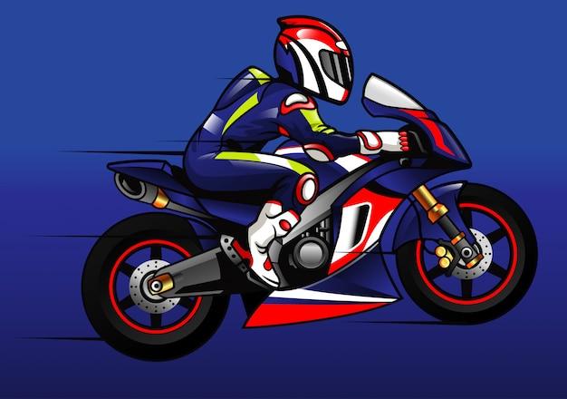 Corredor de moto deportiva