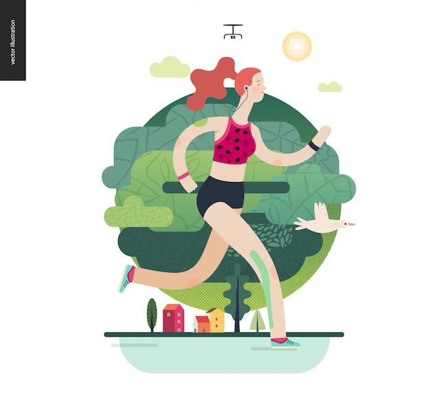 Corredores, chica haciendo ejercicio