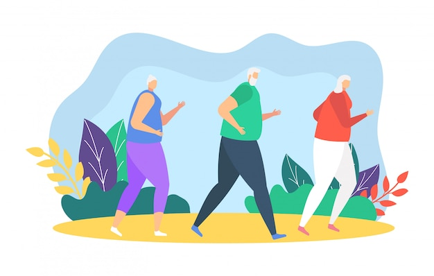 Los corredores de la gente corriendo ilustración, dibujos animados padre, madre e hija participan en maratón deportivo en blanco