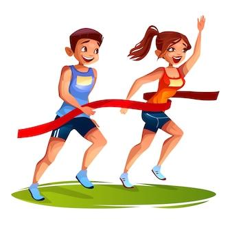 Corredores en la línea de meta ilustración de joven y mujer en maratón deportivo