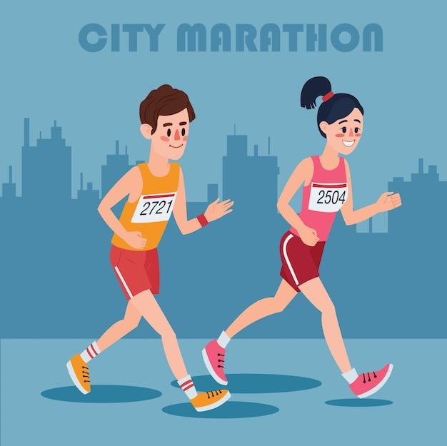 Corredores de maratón de la ciudad. hombre y mujer corriendo por el pueblo