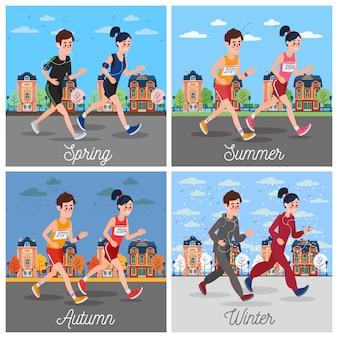 Corredores de maratón de la ciudad