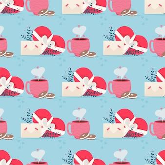 Correo de amor con patrones sin fisuras de la tarjeta de san valentín. te amo sobre de tarjeta de papel. vacaciones románticas el día de san valentín. invitación de tarjeta de regalo. saludo feliz día de san valentín.