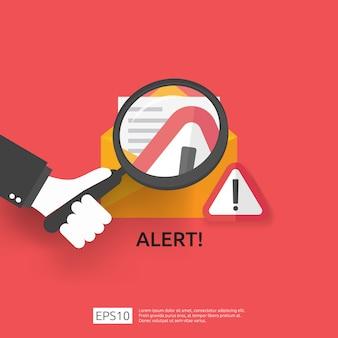 Correo electrónico envolvente atención advertencia atacante señal de alerta con signo de exclamación. concepto de peligro de internet. icono de línea de escudo para vpn. ilustración de protección de seguridad cibernética de tecnología.